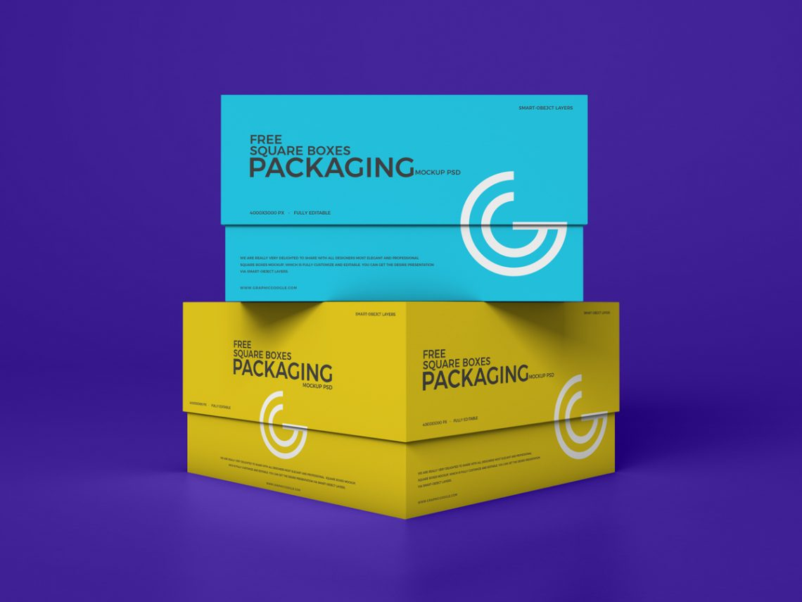 Free Square Boxes Mockup PSD 2019