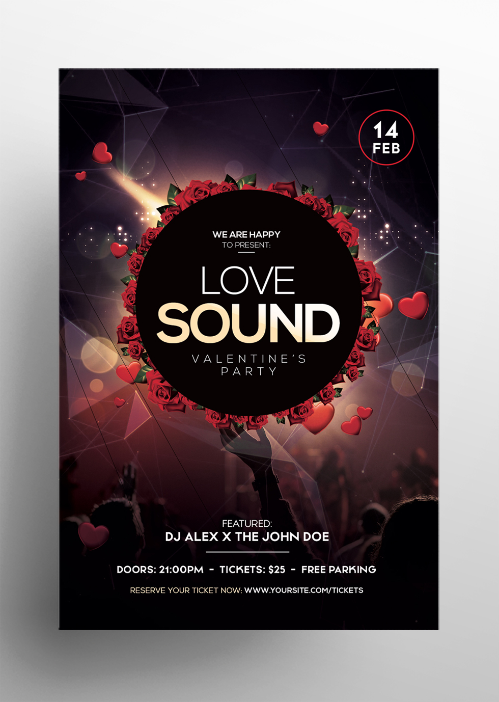Love Sound - Valentine's Free PSD Flyer Template