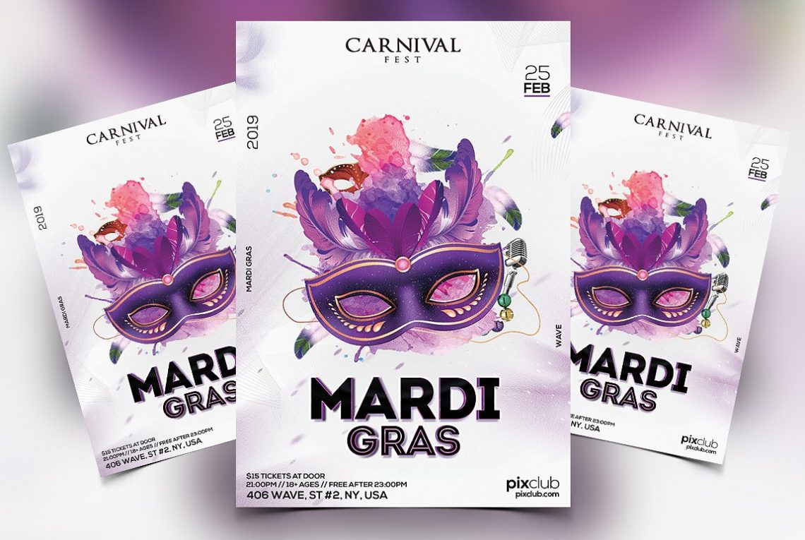 Mardi Gras Premium PSD Flyer Template