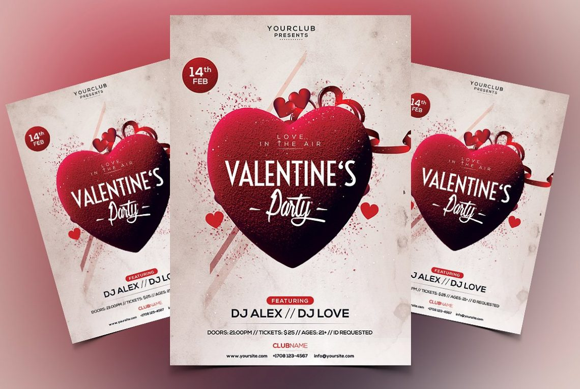 Valentine's Party Premium PSD Flyer Template
