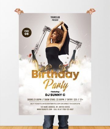 Birthday Party Free White & Gold PSD Flyer Template