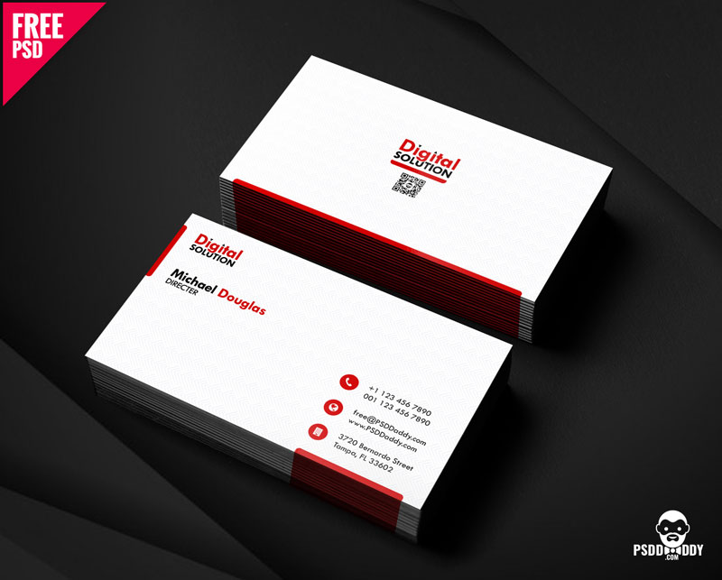 Free Simple Business Card PSD Template.