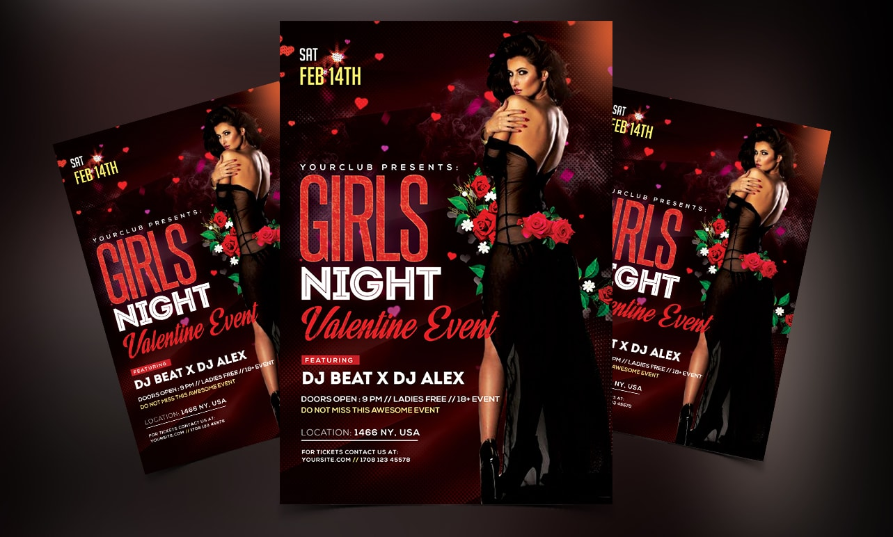 Girls Night - Valentine's Free PSD Flyer Template