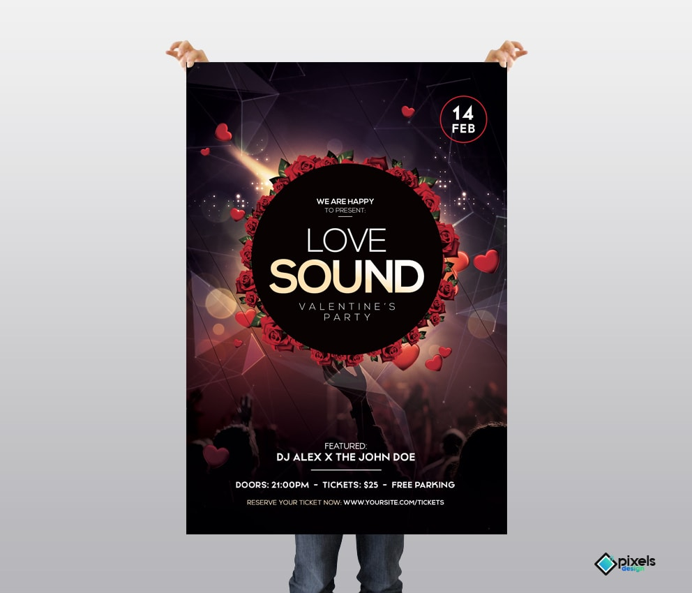 Love Sound - Valentine's Free PSD Flyer Template