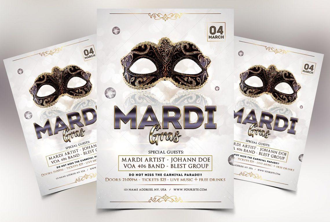 Mardi Gras Premium Elegant PSD Flyer