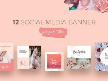 Free Peach Social Media Templates