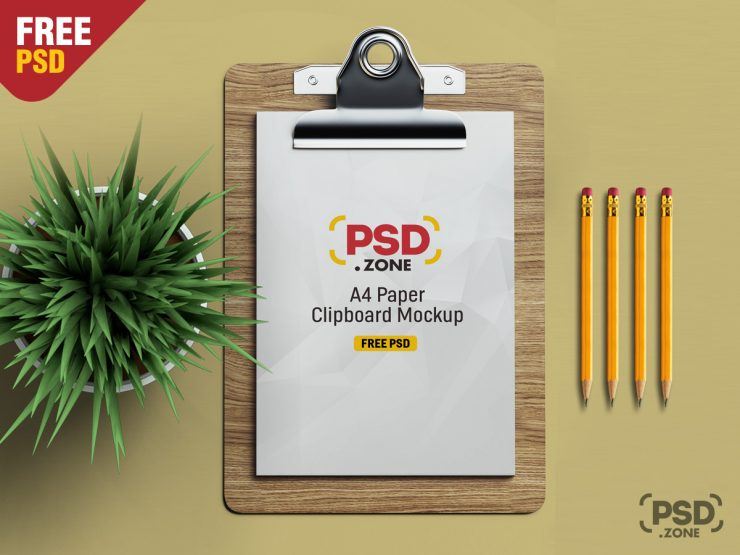 Free PSD A4 Paper Clipboard Mockup