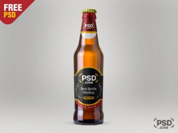 Free PSD Beer Bottle Mockup