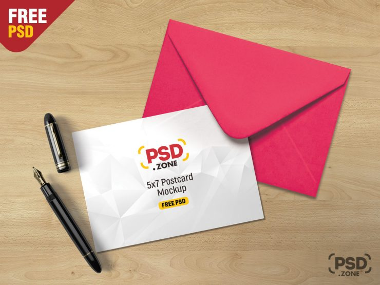 Free Postcard Mockup PSD.