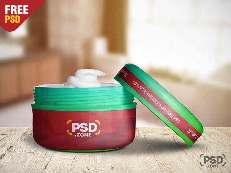 Free Cosmetic Plastic Jar Mockup PSD