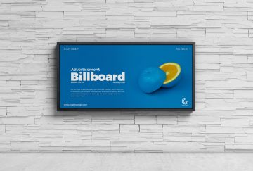 Free Advertisement Wall Billboard Mockup PSD