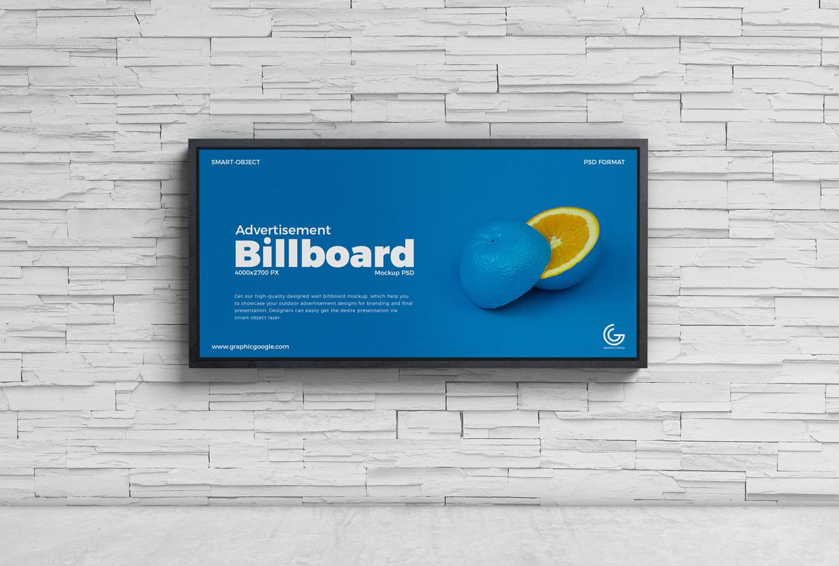 Free Advertisement Wall Billboard Mockup PSD
