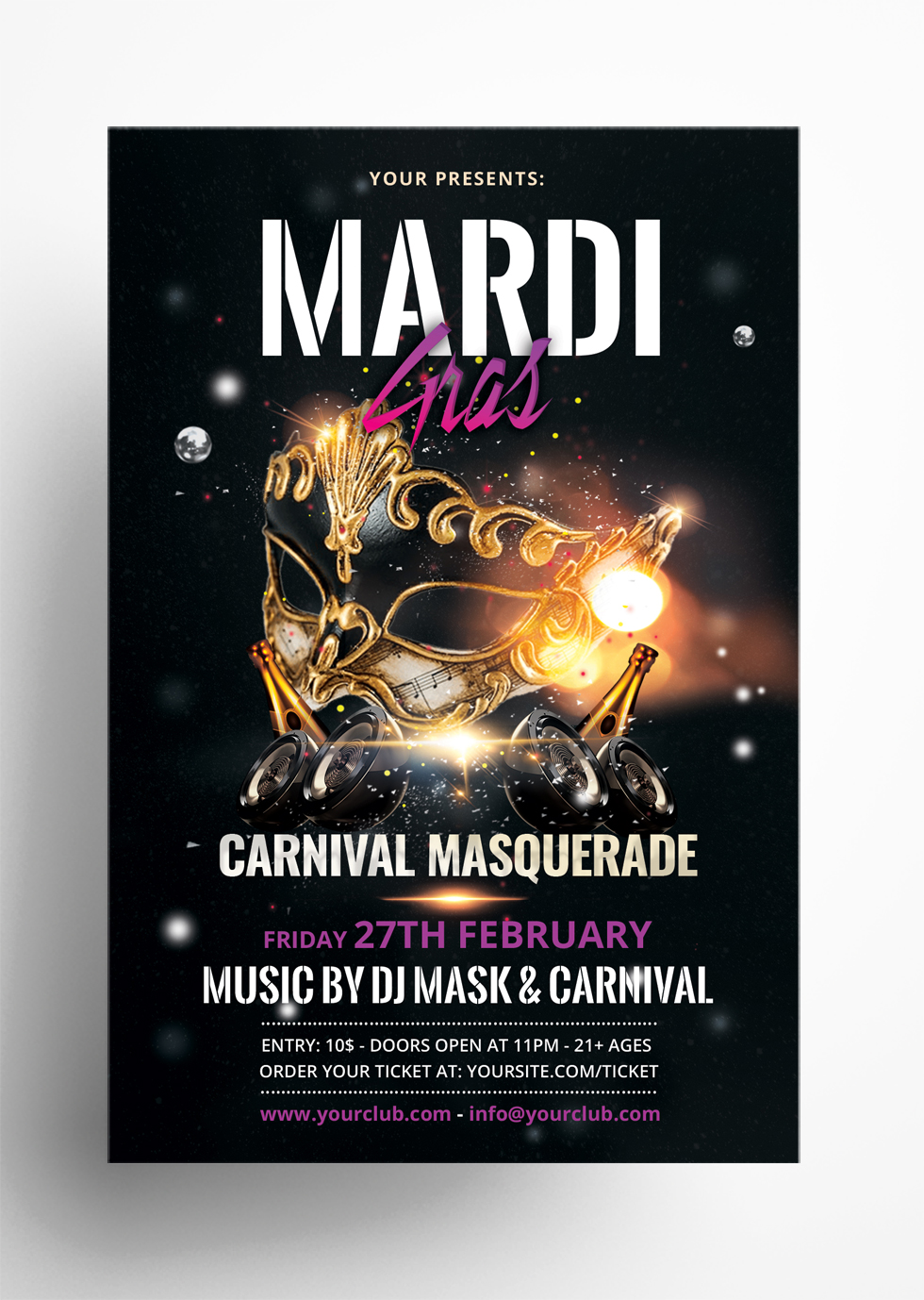Mardi Gras Free Carnival PSD Flyer Template