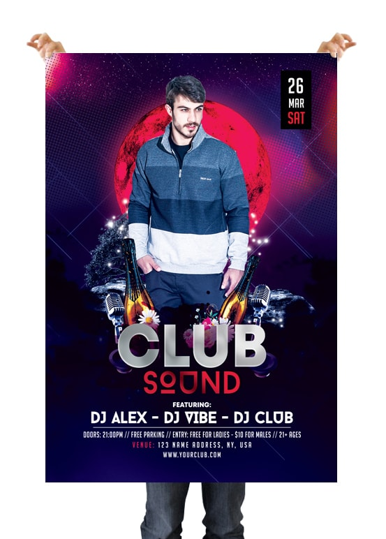 Club Sound PSD Free Flyer Template