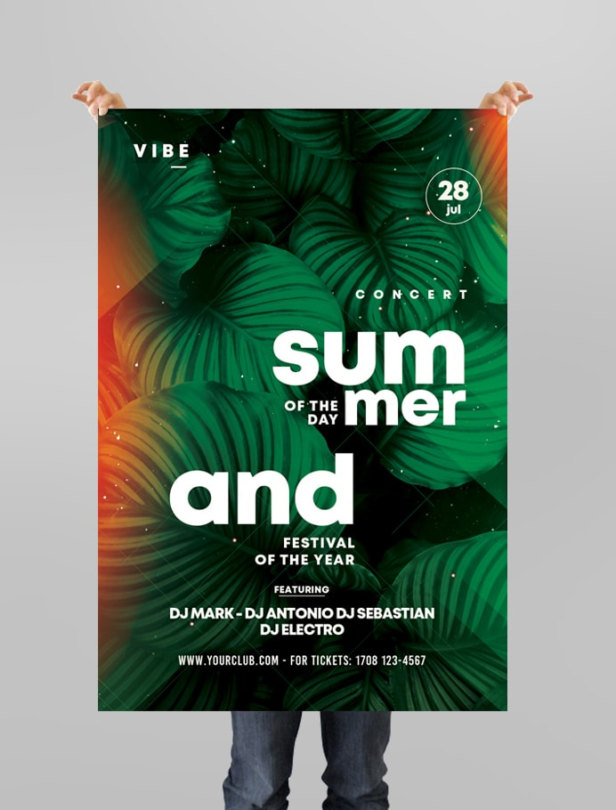 Summer of the Day Free PSD Flyer Template