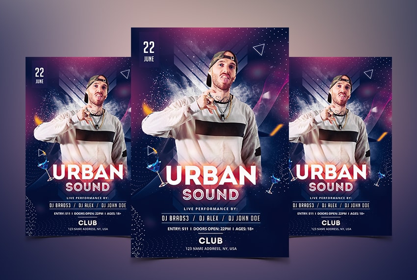 urban sound free psd flyer template download