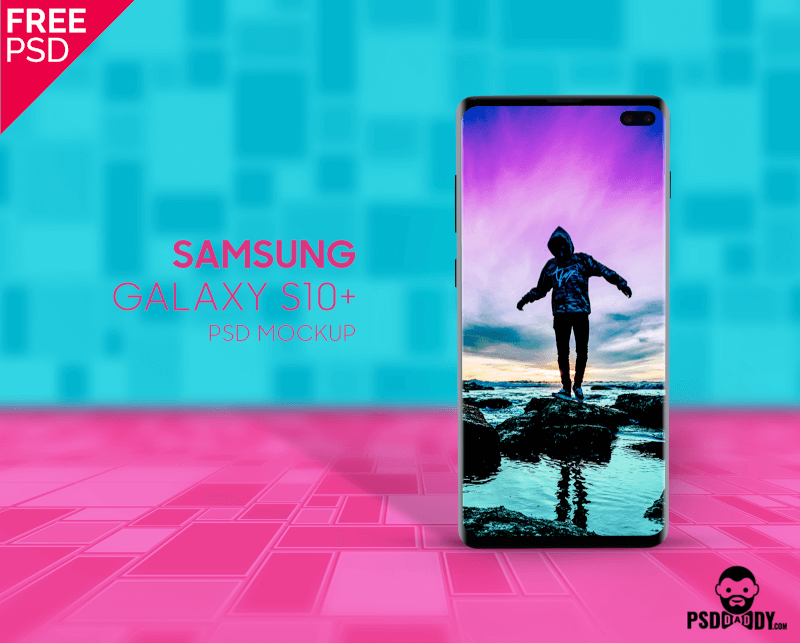 Free Samsung Galaxy S10 Tile Mockup PSD Template.