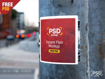 Free Square Flyer on Wall Mockup PSD
