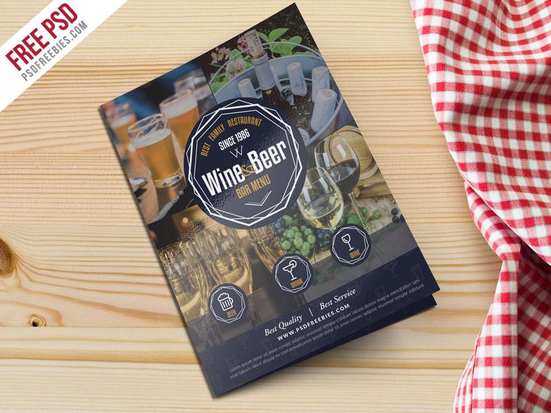 Beer and Wine Menu Bi-Fold Free Brochure Template PSD