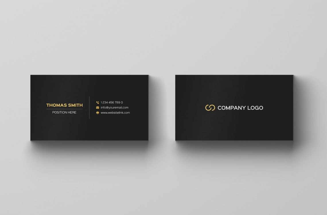 Free Minimalistic Black & Gold Business Card Template.