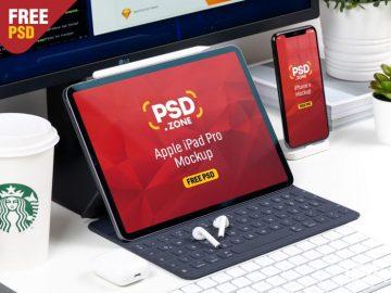 Free iPad Pro with iPhone X Mockup