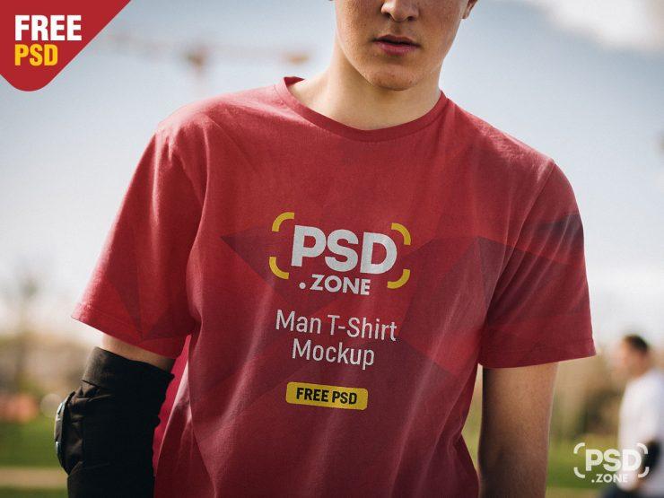 Free Man T-Shirt Design Mockup PSD