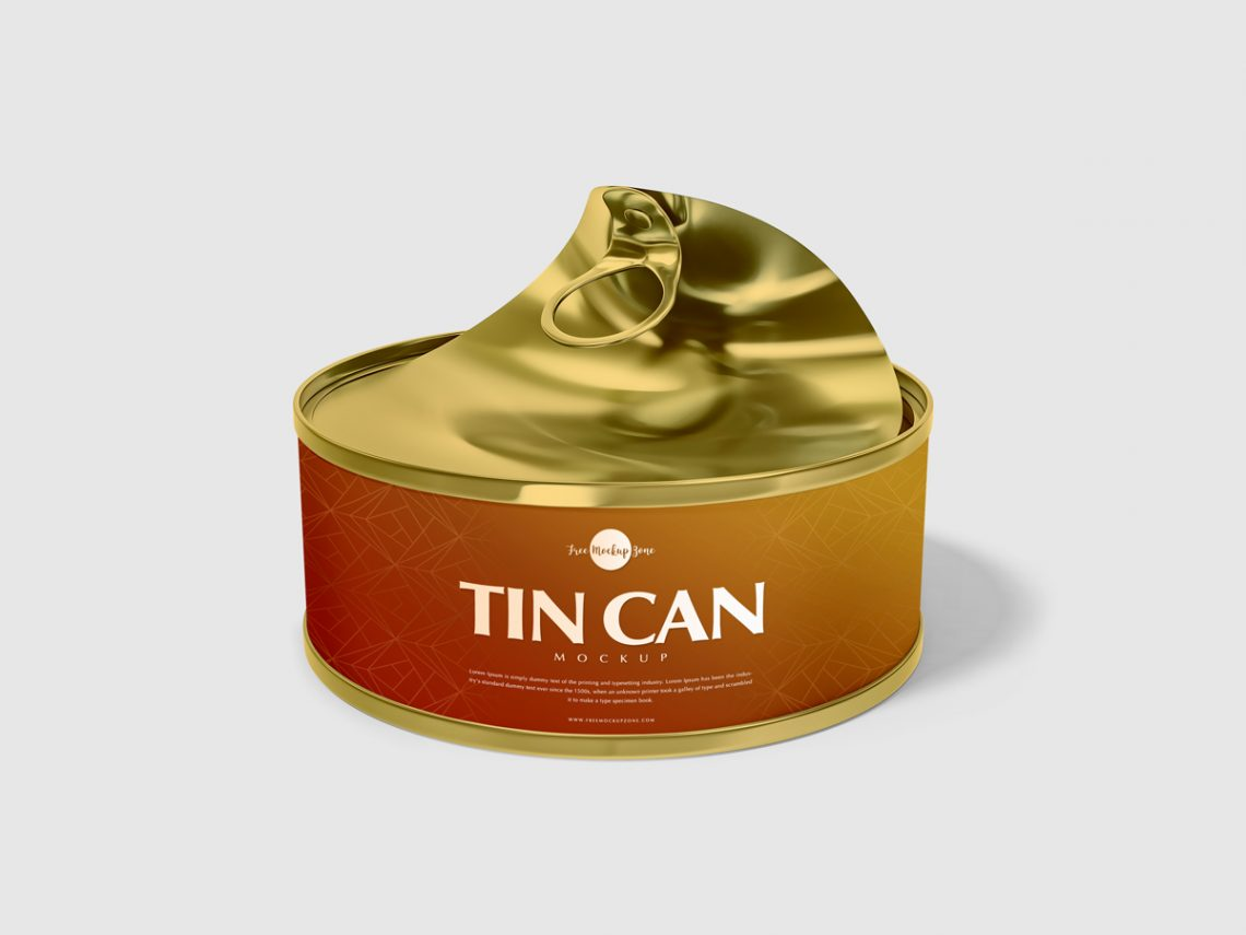 Free Open Tin Can Mockup