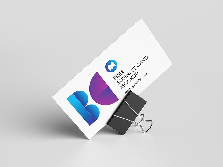 Free Business Card With Foldback Clip Mockup.