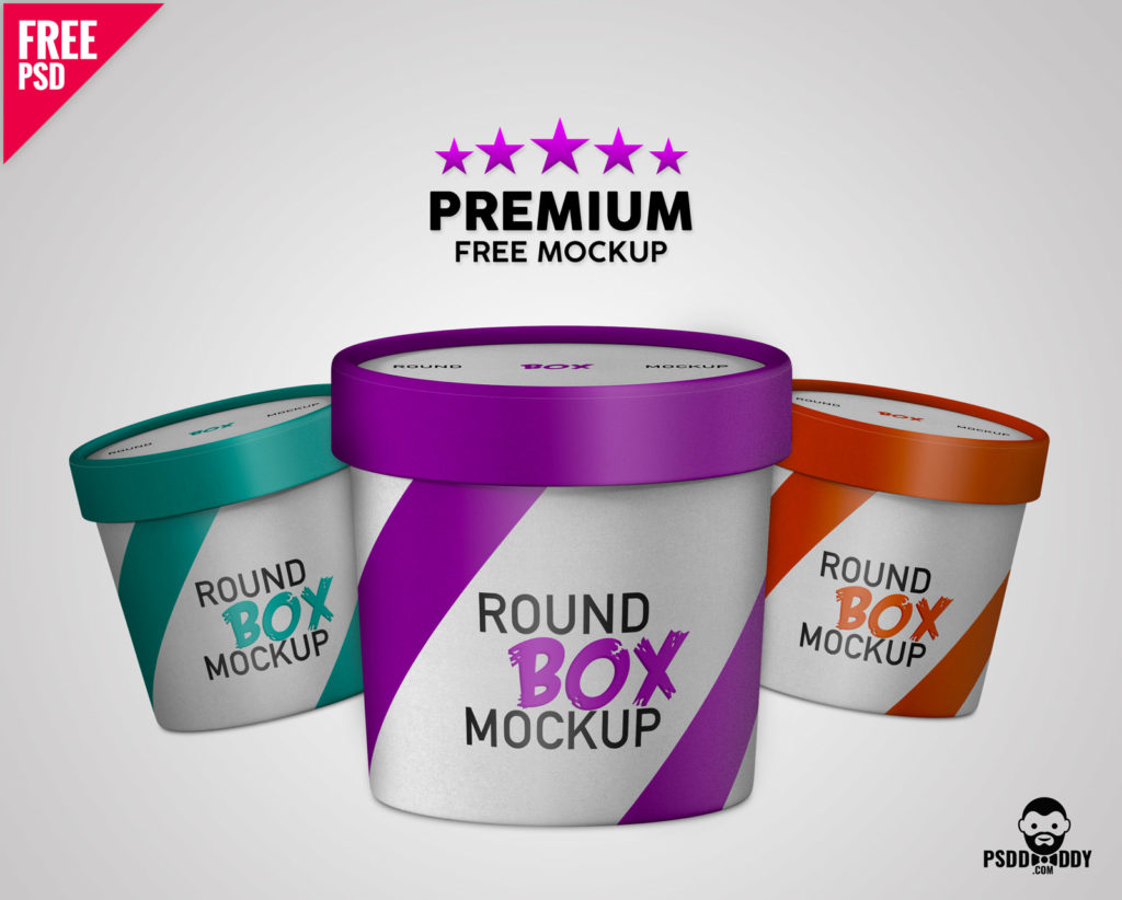 Free Premium Paper Round Box Mockup.