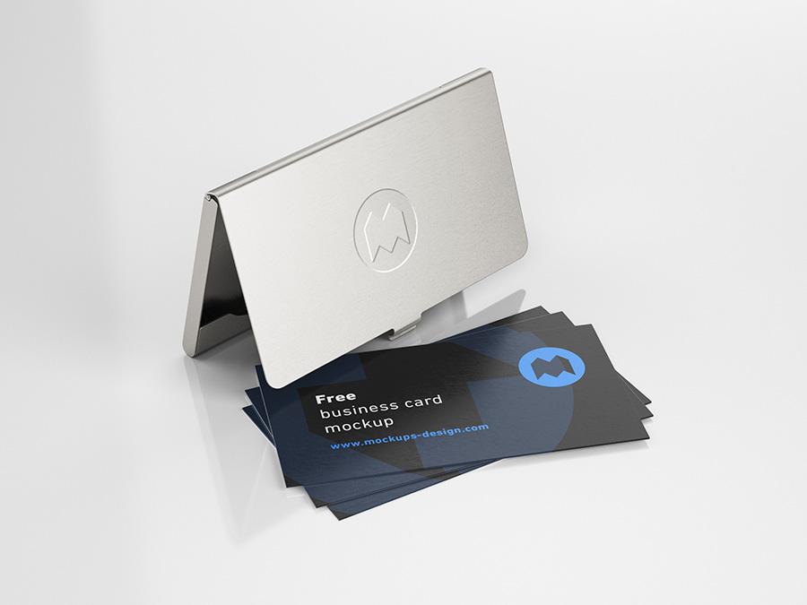 Free Business Card Holder Mockup.