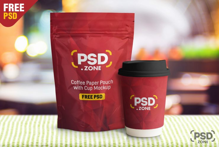 Free Coffee Paper Pouch with Cup Mockup.
