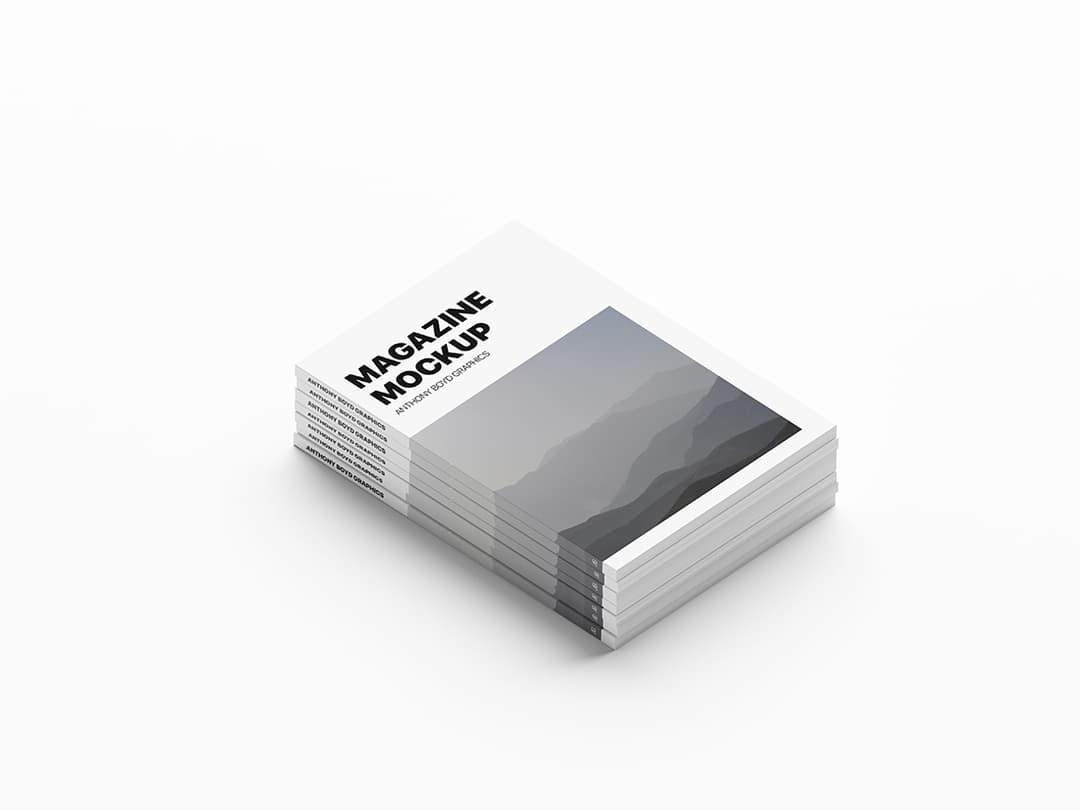 Free Stacked Magazines Mockup.