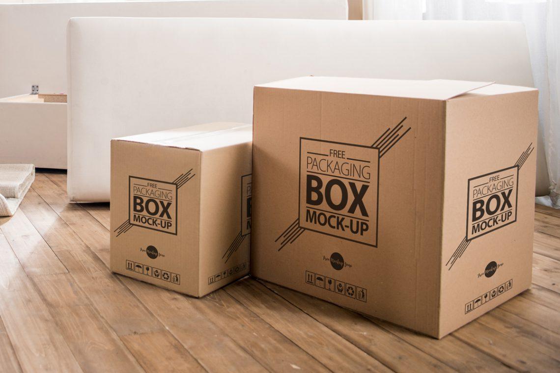 Free Packaging Box on Wooden Floor Mockup