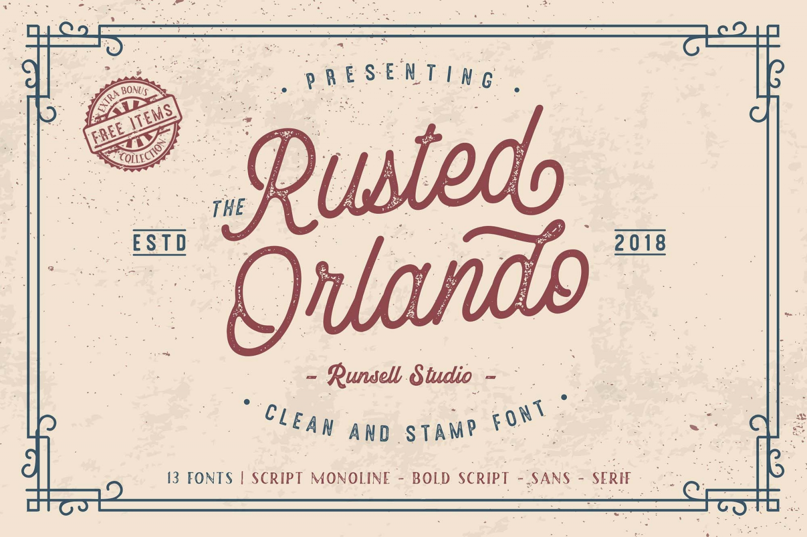 Free Rusted Orlando Script Font Family.