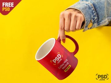 Free Hand Holding Coffee Mug Mockup