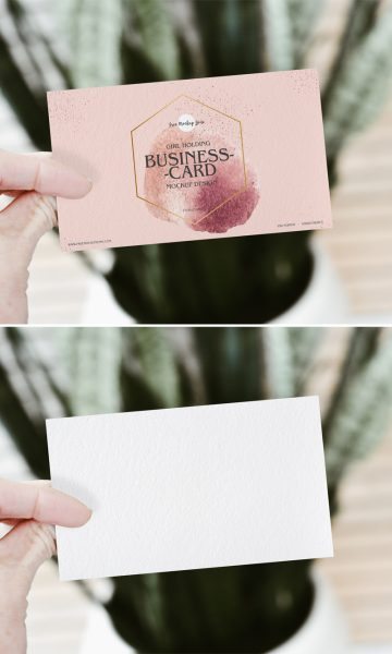 Free Girl Holding PSD Business Card Mockup Design 2019