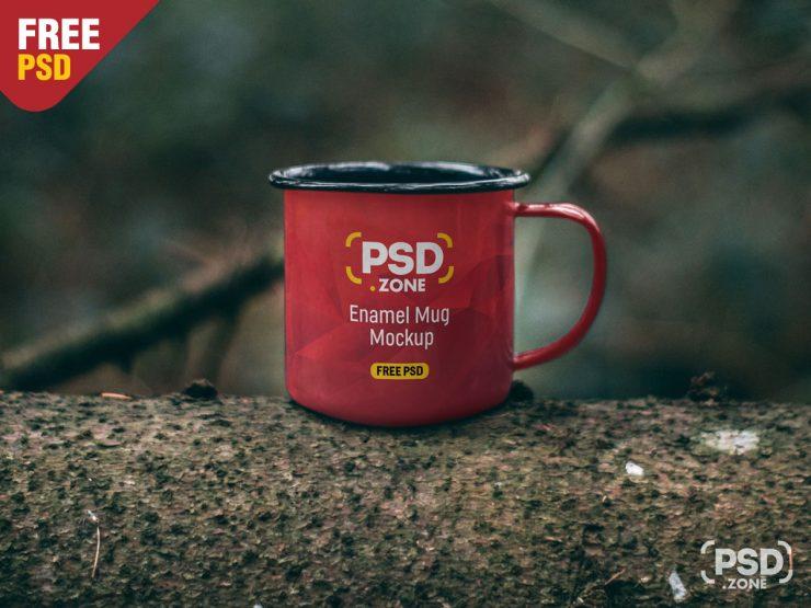 Free Enamel Mug Mockup PSD.