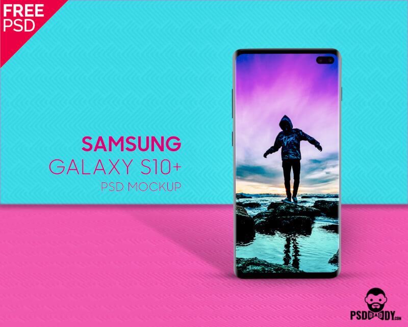 Free Samsung Galaxy S10 + Pattern Mockup PSD Template.
