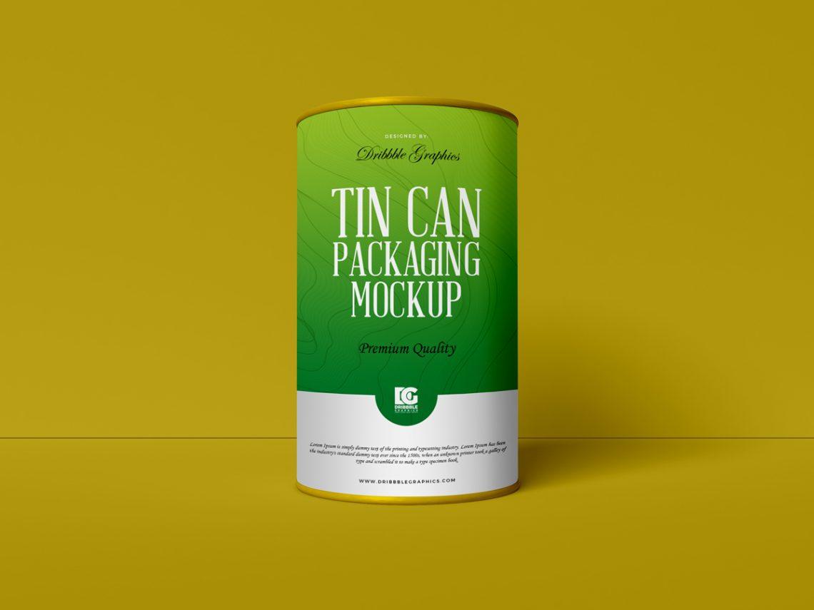 Free Cardboard Tin Can Packaging Mockup PSD.