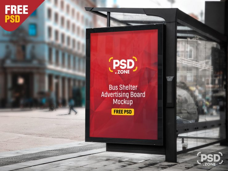 Free Bus Shelter Advertising Board Mockup PSD.
