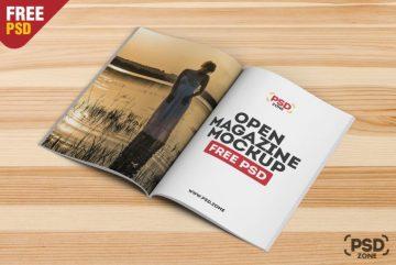 Free Open Magazine Mockup PSD