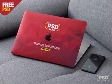 Free MacBook Pro Skin Design Mockup PSD