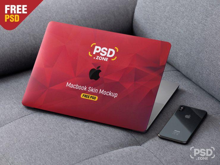 Free MacBook Pro Skin Design Mockup PSD.