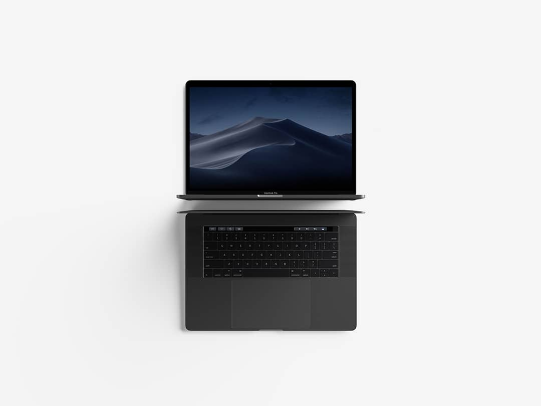Free Modern Top View MacBook Pro Mockup.