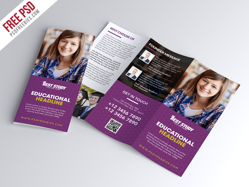 Free University College Trifold Brochure PSD Template