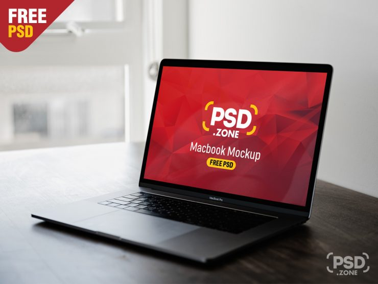 Free Gray Macbook Pro Mockup PSD.
