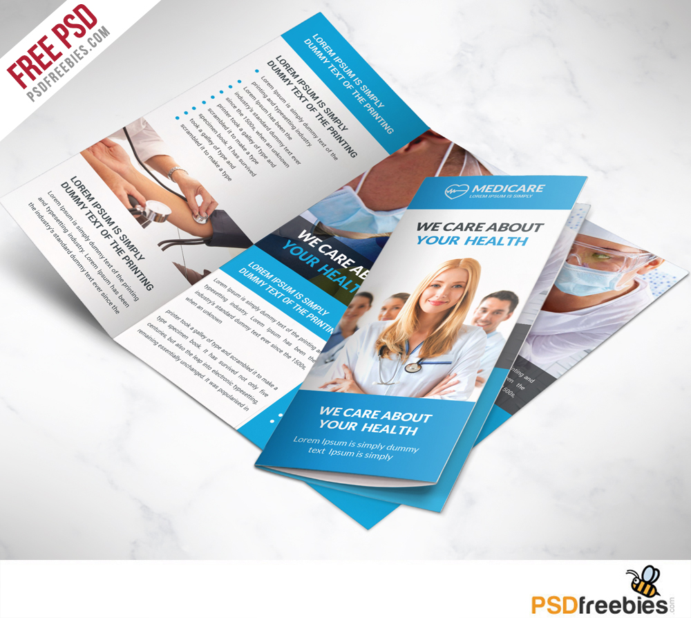 Medical care and Hospital Trifold Brochure Template – Free PSD