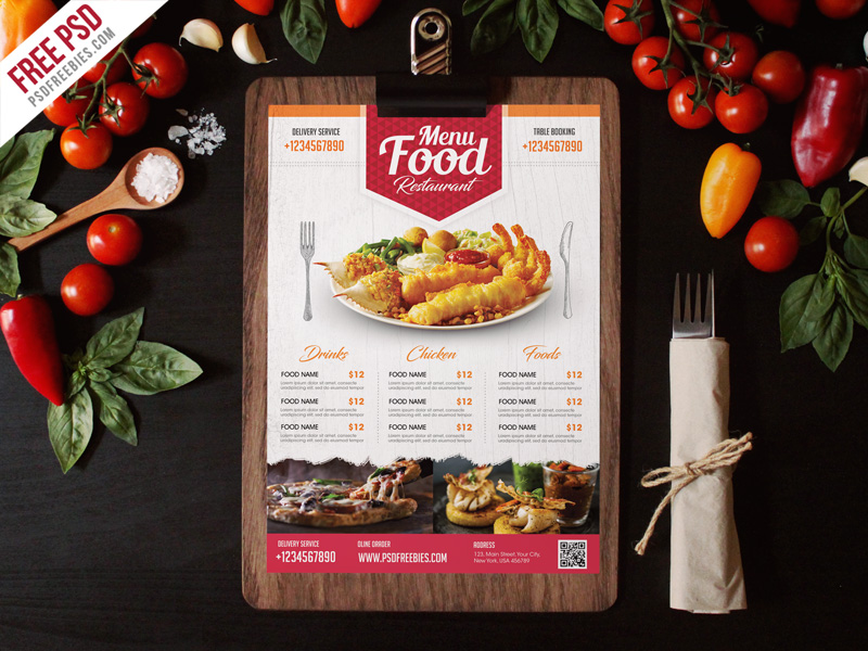 Free Simple Restaurant Food Menu Flyer Template PSD