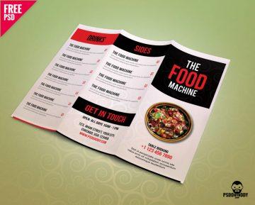 Free Restaurant Menu TriFold Brochure PSD Template