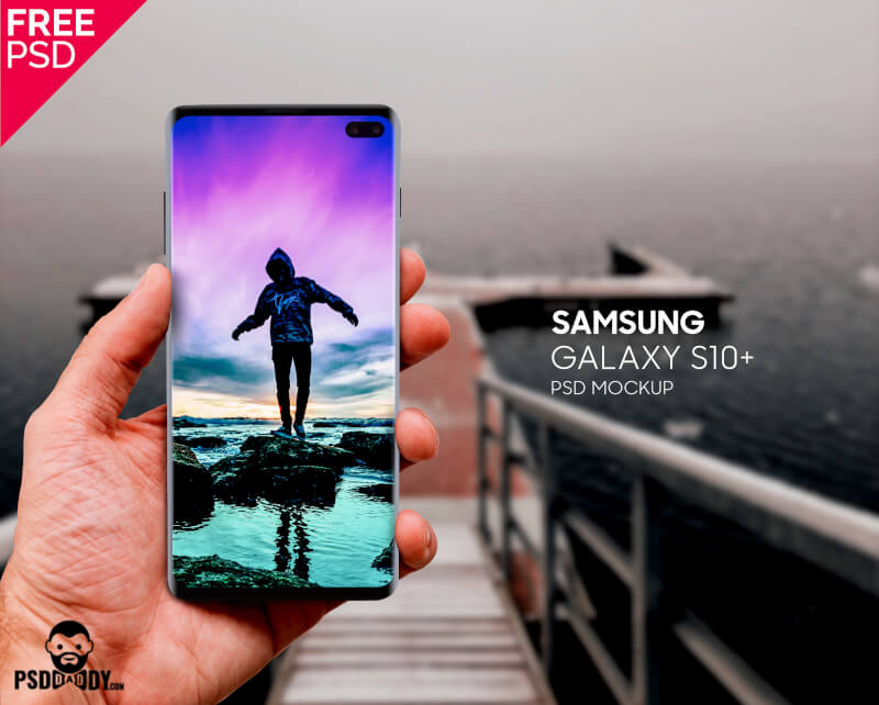 Free Samsung Galaxy S10 In Hand Mockup PSD Template.
